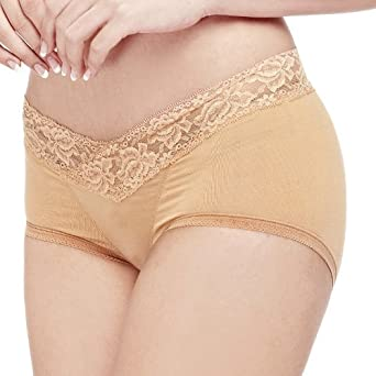 内外美女士纯莫代尔全棉中腰蕾丝提臀翘臀美体内裤
