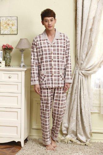 3秋季情侣休闲睡衣套装针织棉时尚格子长袖家居服居男17211 灰色图片
