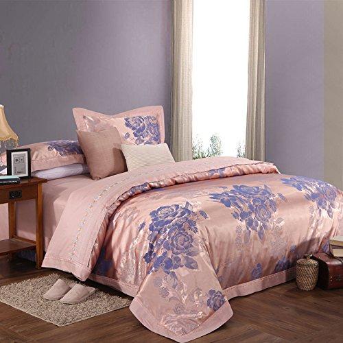 诺艾菲家纺 欧式宫廷风床品件套 简约时尚贡缎绣花/提花 双人六件套