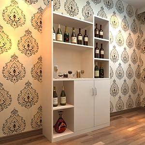 蜗爱现代简约餐厅家具板式柜浮雕白色酒柜餐边柜活动隔板橱柜现生产可