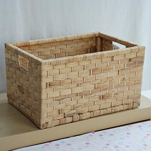 kens恒高 进口水葫芦草编木质边框收纳篮 桌面无盖收纳箱 田园储物筐