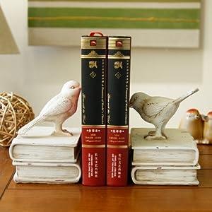美式乡村 创意动物小鸟复古书靠书档 树脂工艺品 家居