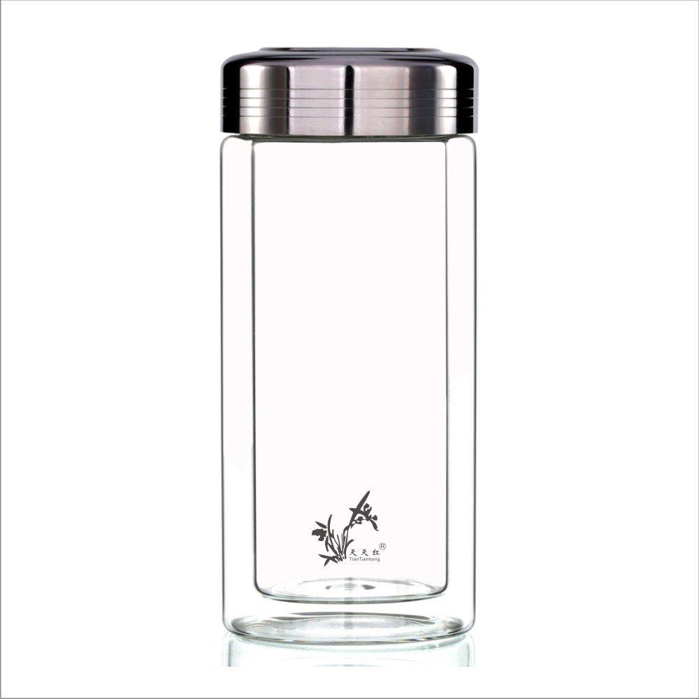tiantianhong 天天红 保温茶杯 580ml特大双层玻璃杯