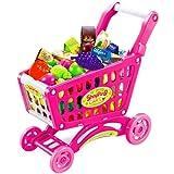 皇家之星 儿童趣味购物车 过家家仿真超市手推车 益智水果蔬菜 W5457 枚红色-图片