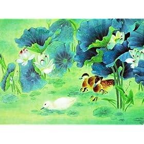颂风无框油画 中国工笔重彩画系列之鸳鸯戏水 JD13259 40 30cm图片