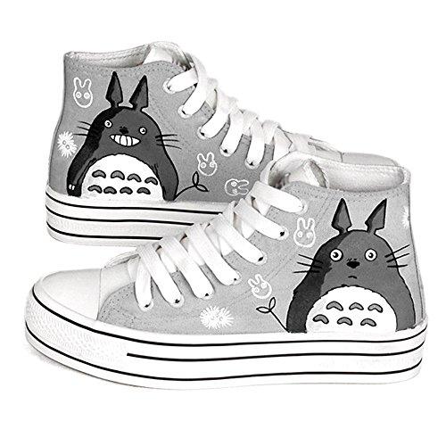 卜丁 卜丁春灰色手绘鞋高帮系带涂鸦鞋帆布鞋厚底 猫图案松糕女鞋图片图片