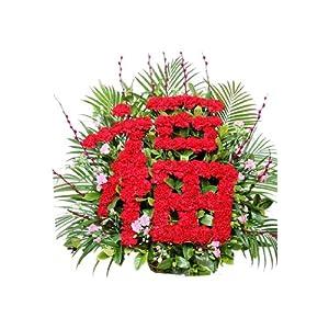 """祝寿礼物 鲜花速递 鲜花预定80支红色康乃馨插成""""福""""字全国配送 尚雅"""