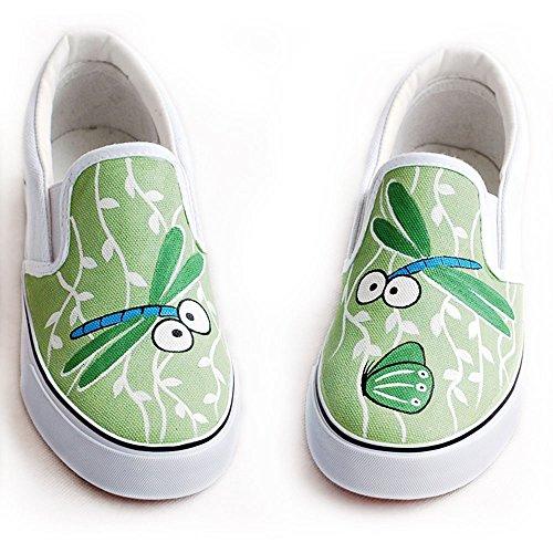 卜丁 帆布鞋蜻蜓图案手绘鞋 韩版女鞋 涂鸦鞋 牛筋底无带 布鞋年新