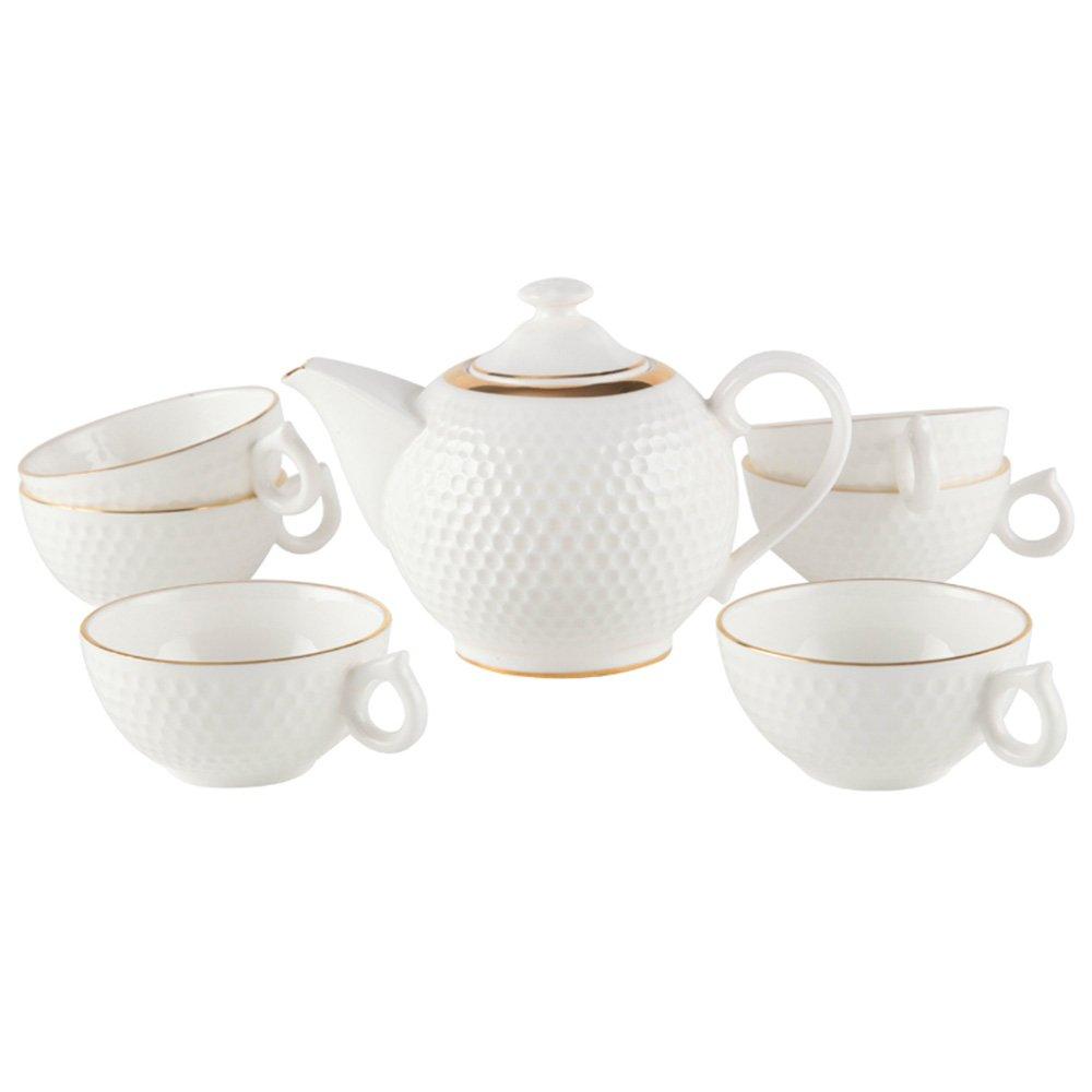 雅诚德 骨瓷6 1铂爵茶具(黄金) 欧式浮雕茶具套装 带过滤 茶壶杯