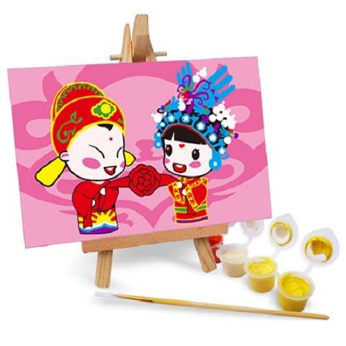 自油自画 数字油画diy手绘 中国风儿童动漫卡通结婚画
