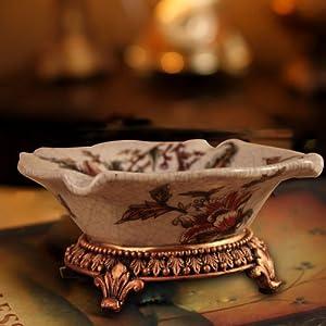 欧式复古奢华陶瓷烟灰缸简约时尚家居摆件桌