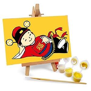 自油自画 diy手绘数字油画特价 卡通带画架多款 小福将 10x15