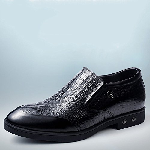 Gog 高哥 男士内增高皮鞋6cm隐形内增高男鞋仿鳄鱼纹一脚蹬秋季