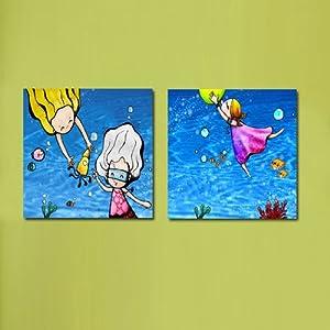 美时美刻 卡通人物装饰画水上乐园挂画儿童房床头无框画幼儿园壁画