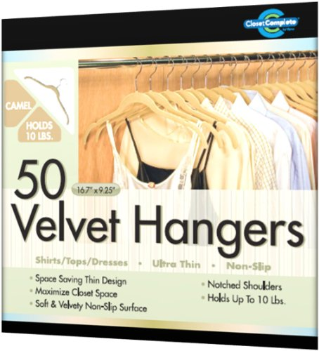 Closet Complete Ultra Thin No Slip Velvet Hangers for Shirts and Dresses 驼色