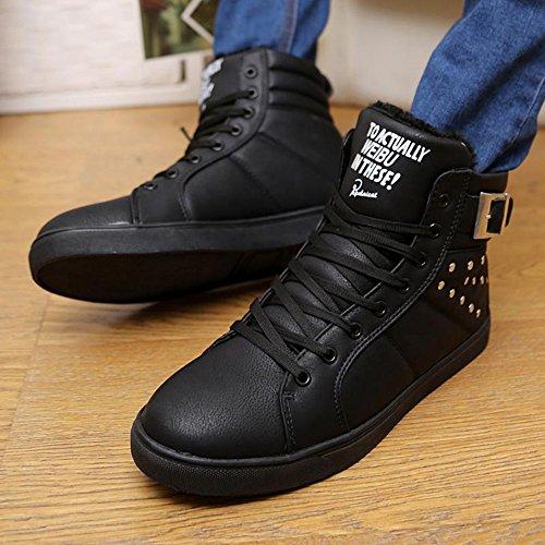 秋冬 时尚加绒保暖高帮韩版男鞋潮流短靴铆钉英伦休闲鞋靴子板鞋