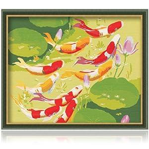 客厅风景结婚情侣手绘装饰画 鱼动荷花 鱼动荷花 40*50已钉好内框