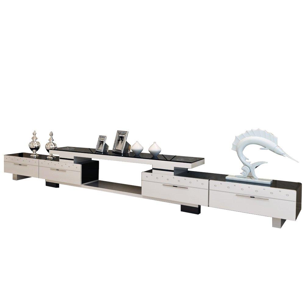 帕格尼 电视柜简约现代烤漆伸缩电视机柜茶几组合钢化