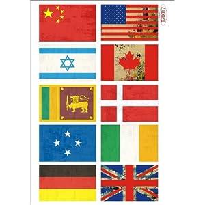多贝特 复古中国国旗贴纸笔记本贴纸旅行箱贴纸死飞贴纸拉杆箱贴纸