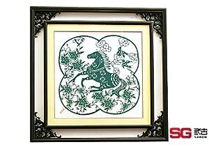 三古剪纸 书房装饰画 涉外礼品 创意生日送礼 生肖《马到成功》图片