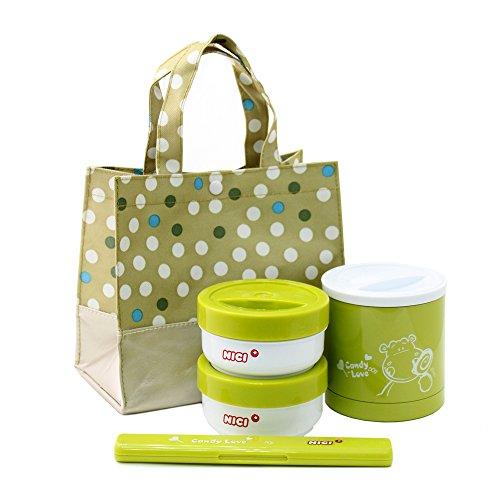 NICI 可爱河马绿色真空保温饭盒套装 不锈钢内胆密封盖防溢防漏 杜绝汤汁撒漏 绿色健康-图片