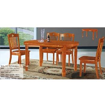 欧式橡木餐台 简约时尚长方形饭桌 餐桌套装1桌 6椅 德邦物流送货到楼