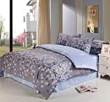 (家纺节,优惠闪购)VooChoo 卧趣 全棉斜纹被套床单双人四件套 超耐磨环保染色 AB版加柔 适合1.5/1.8米床 迷迭香-图片