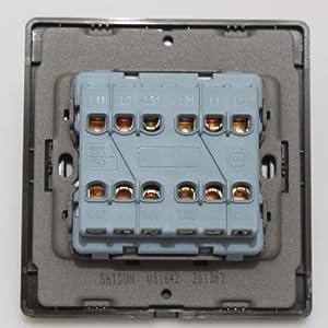 shidun 狮盾开关面板 v8 不锈钢拉丝面板系列 四开双控