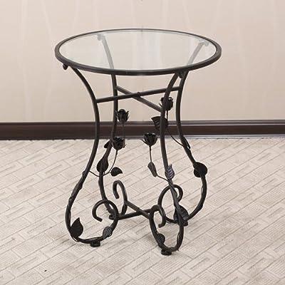 欧式田园铁艺桌子玻璃小圆桌边角几