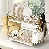 和兴 不锈钢碗碟架厨房用品收纳架餐具架双层碗架沥水架置物架98763(长49*宽28.5*高39.5CM)-图片