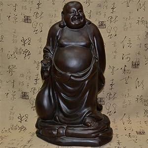 龙德轩黑檀木雕布袋弥勒佛像摆件红木布袋和尚工艺品