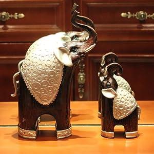 欧风剪影 欧式复古树脂镀银母子大象家居摆件客厅书房