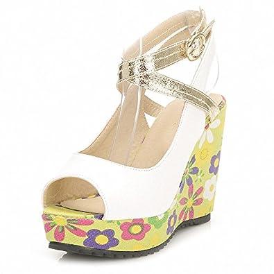 靓骏 夏季凉鞋韩系手绘花卉彩绘厚底高跟鱼嘴松糕韩版防水台女式凉鞋