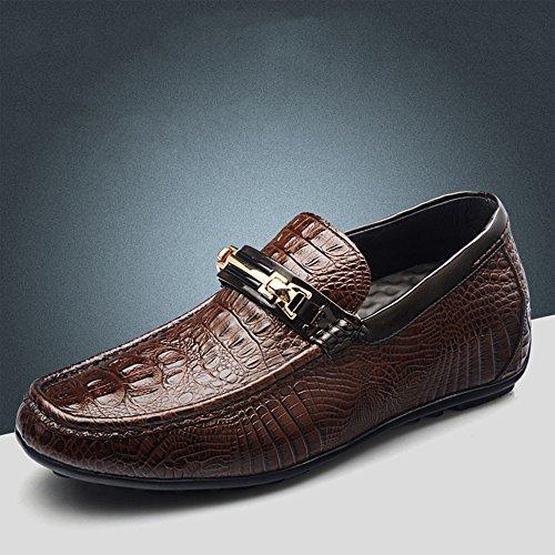 Gog 高哥 隐形内增高男鞋6CM商务鳄鱼纹皮鞋男真皮懒人鞋男士增高鞋