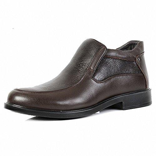 Montagut 梦特娇 男鞋正品 冬款真皮男士棉皮鞋保暖绒里套筒正装高帮鞋37码
