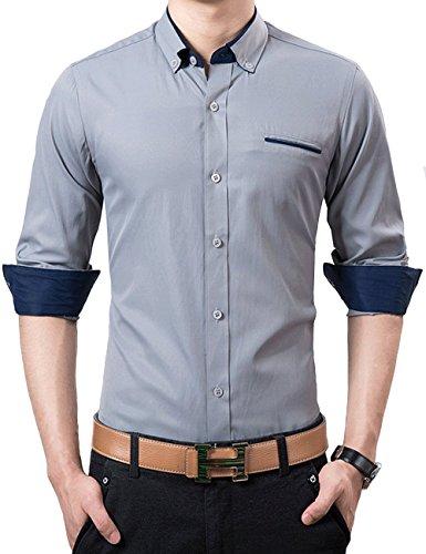 UYUK衬衫 男士2015秋装新款长袖衬衣纯色气质商务休闲纯棉衬衫c840