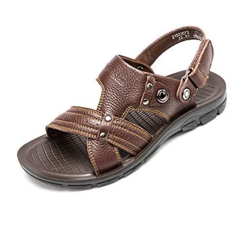 木林森凉鞋男 夏季新款英伦休闲真皮凉拖鞋 透气防滑沙滩鞋正品