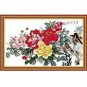 十字绣成品 花开富贵半景