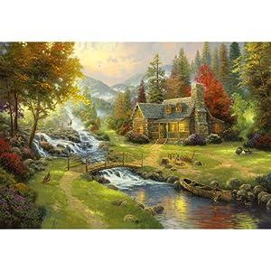 森蓝 拼图1000木质拼图 小桥流水人家 进口材质优质国产风景拼图