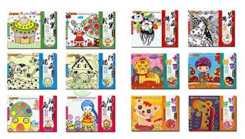 小小美术创意家 童画时光全套装12本 水笔水彩线描油画棒装饰画砂纸画