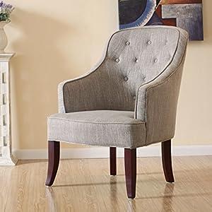 百伽 美式布艺/古典风格/酒店椅/阅读椅/单人电脑沙发椅/座椅/灰褐色