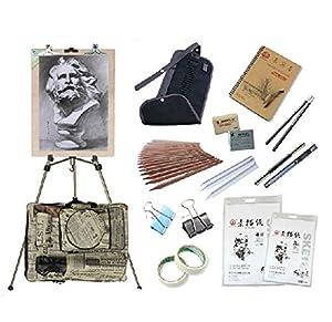 京潮港 香槟色铝合金大手摇素描套装配置美术绘画工具图片