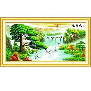 爱丽尔 十字绣精准印花挂画系列 迎客松鹤寿延年Y8899 11CT 164 83图片