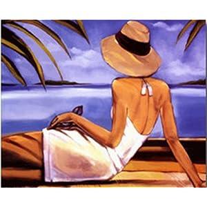 数字油画 diy 客厅风景 情侣结婚 手绘油画 装饰壁画yh17372-海岸背影