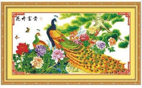 花开富贵牡丹孔雀图