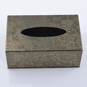 aya 欧式黑金复古酒店纸巾盒 木质皮革可爱创意餐巾纸