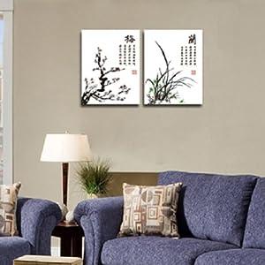 自油自画 数字油画 特价 diy手绘壁画餐厅书房中国风壁画 梅兰 40x50x