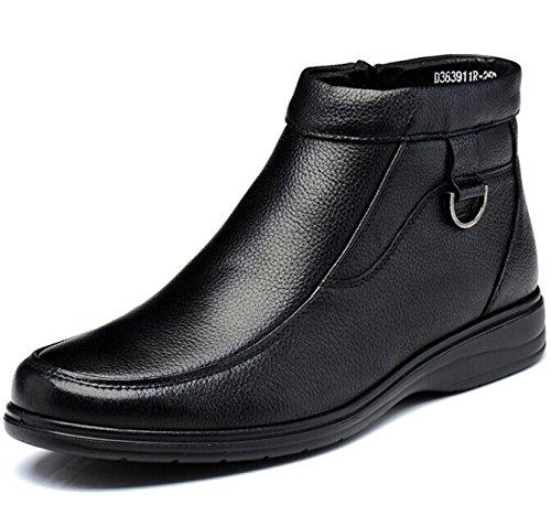 FUGUINIAO 富贵鸟 英伦男士套脚保暖加毛绒高帮真皮牛皮商务休闲鞋正装鞋透气皮鞋子经典复古男鞋子