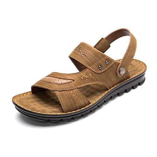 MULINSEN 木林森 男凉鞋真皮凉拖鞋两用韩版潮流休闲男鞋 镂空透气沙滩鞋子