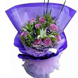 花易鲜花速递 9枝紫玫瑰+2枝白百合花束 爱情鲜花 鲜花速递全国北京